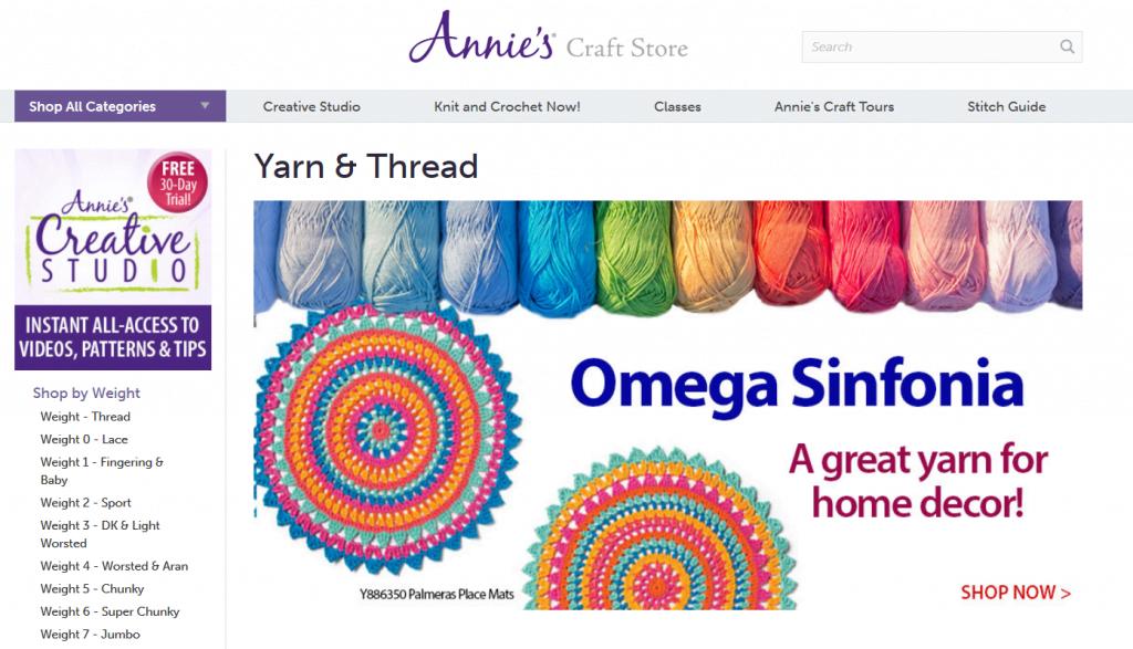 Annie's Craft Store online yarn store