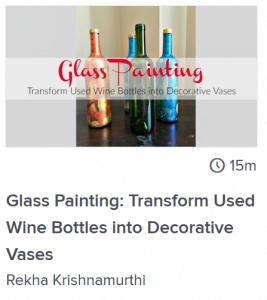 glass painting wine bottles online lesson