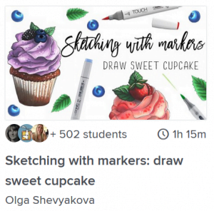sketching with markers draw sweet cupcake copic coloring lesson online