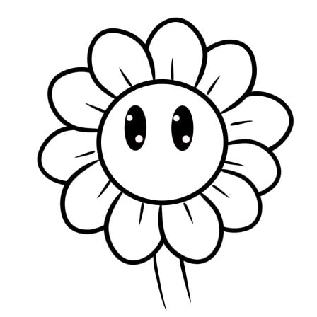 cartoon sunflower step 5