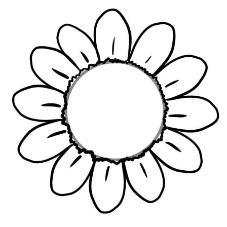 drawing sunflower step 2