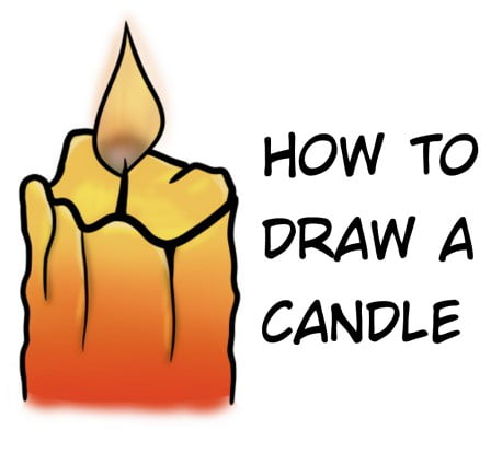 How To Draw A Candle With A Flame Step By Step