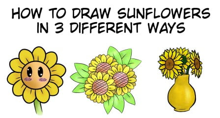 how to draw sunflowers easy tutorial
