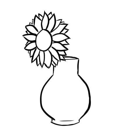 how to draw sunflowers in a vase step 2