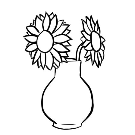 how to draw sunflowers in a vase step 3