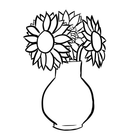 how to draw sunflowers in a vase step 4