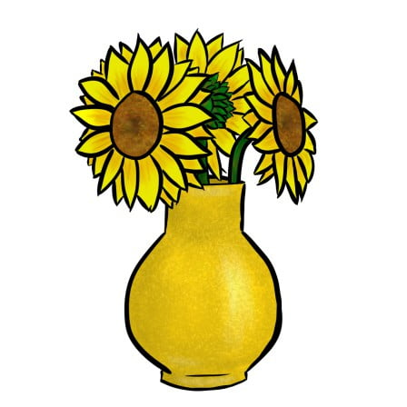 how to draw sunflowers in a vase step 5