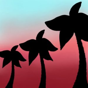 palm trees sunset drawing 2