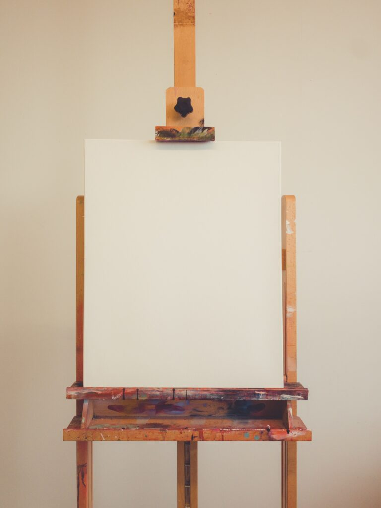 A primed canvas that can be used for sketching with pencils or charcoal.